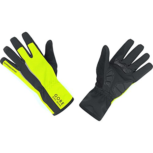 Gore Bike Wear Men's Power Soft Shell Windstopper Gloves (Black/Neon Yellow, Large)