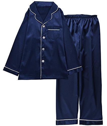 JOYTTON Kids Satin Pajamas Set PJS Long Sleeve Sleepwear Loungewear Dark Blue Satin Girls Pajamas