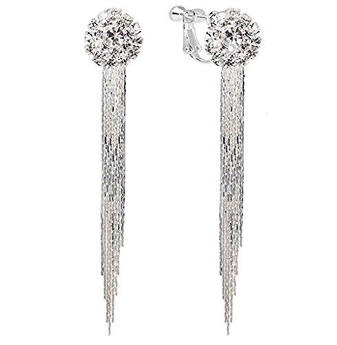 - megko Non Piercing Earring Clips Silver Chain Tassel Crystal Stud Earrings for Women Long Drops Earings