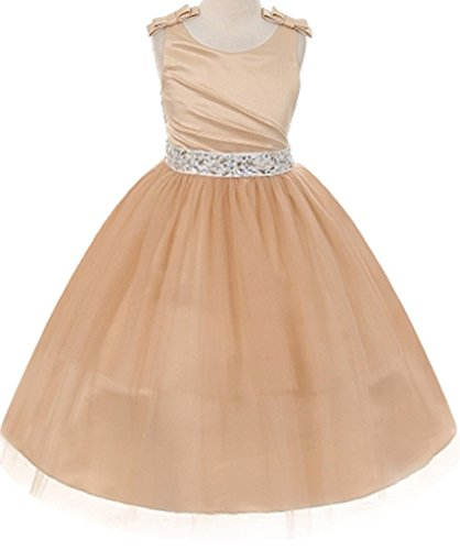 AkiDress Satin Pleated Bodice Tulle Skirt with Jeweled Belt for Little Girl Champagne -