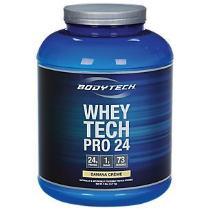 BodyTech Whey Tech Pro 24 Protein Powder Protein Enzyme Blend with BCAA's to Fuel Muscle Growth Recovery, Ideal for PostWorkout Muscle Building Banana Crème (5 Pound) (Banana Whey Creme)