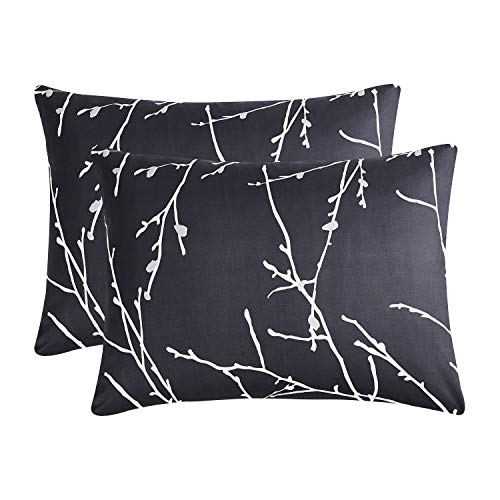 Wake In Cloud - Pack of 2 Pillow Cases, Dark Gray Grey Charcoal with Tree Branches Pattern Printed, Soft Microfiber Pillowcases (Standard Size, 20x26 Inches)