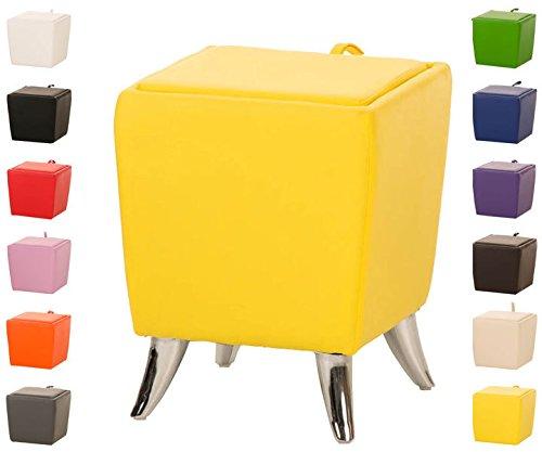 CLP Taburete Puff De Almacenamiento Roxy I Taburete Reposapies Tapizado En Simil Cuero I Otomana De Almacenaje Moderna I Color: Amarillo