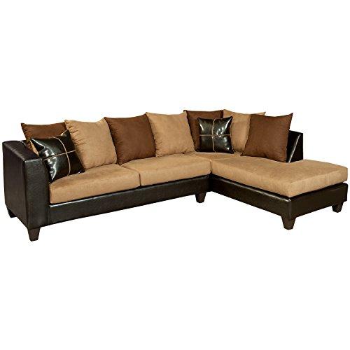 Flash Furniture Riverstone Sierra Chocolate Microfiber Sectional Sofa, Brown