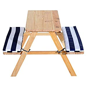 "Kids Picnic Table Outdoor Children Play Wooden Bench with Padded Benches 35""L 31.1""W"