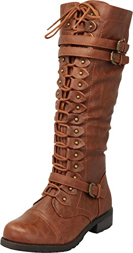 Cambridge Select Women's Lace-Up Strappy Knee High Combat Stacked Heel Boot,7 M US,Cognac Pu
