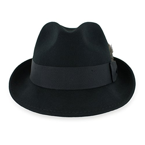 Wool Trilby Hat - Belfry Trilby Men/Women Snap Brim Vintage Style Dress Fedora Hat 100% Pure Wool Felt Available in Black, Grey, Pecan (L,Black)