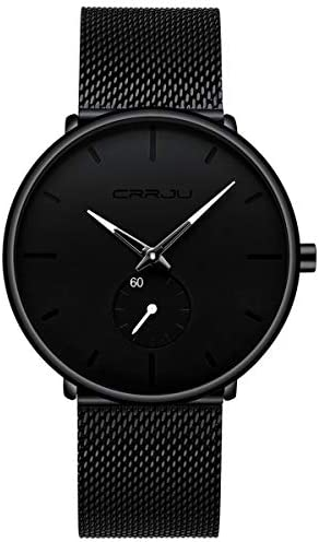 Mens Watches Ultra-Thin Minimalist Waterproof - Fashion Wrist Watch for Men Unisex Dress with Stainless Steel Mesh Band