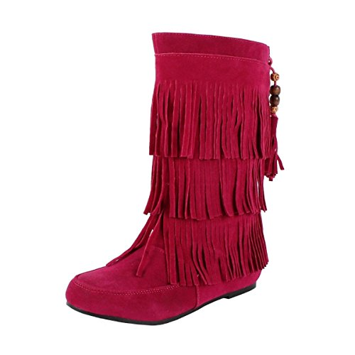 DEV Children's Girl Limma Moccasin 3-Layer Fringe Beaded Tribal Indian Winter Faux Suede Boot Shoes...