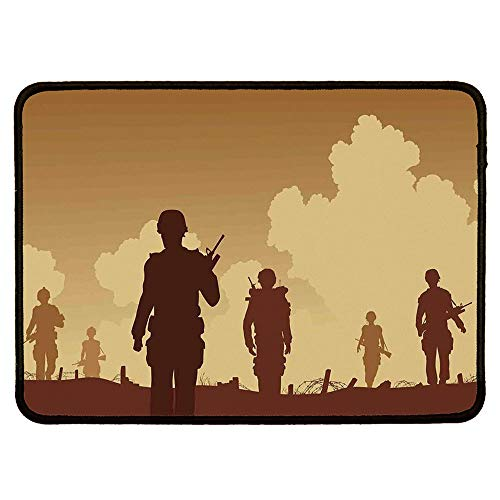War Home Decor Custom Mouse Pad,Soldier Shadows with Military Costumes and Weapons Walking on Patrol Print for Electronic Games -
