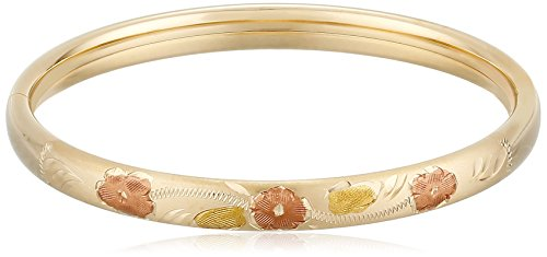 Children's 14k Yellow Gold-Filled Hand Engraved Tri-Color Guard and Hinge Bangle Bracelet - 14k Tri Color Gold Bangle