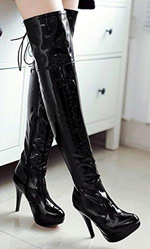 Talon Noir Aiguille Stiletto Femme Plateforme Easemax Sexy Bottes 0qwEtgan
