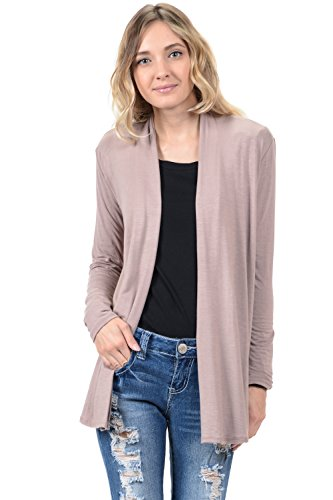 Pastel by Vivienne Women's Long Sleeve Jersey Cardigan X-Large Mocha ()