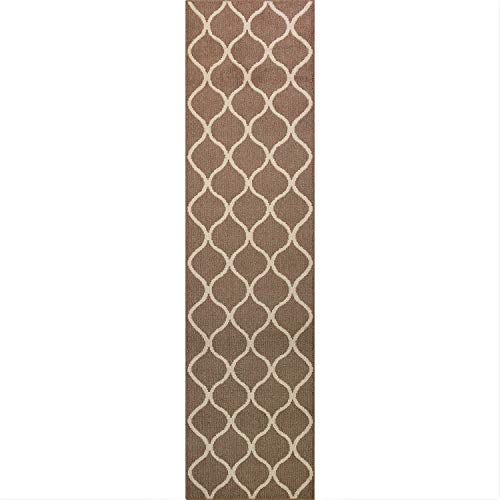 Maples Rugs Runner Rug - Rebecca 2'6 x 10' Non Skid Hallway Carpet Entry Rugs Runners [Made in USA] for Kitchen and Entryway, Café Brown/White]()