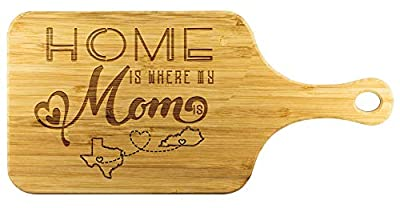 Cutting Boards For Kitchen Bamboo - Home Is Where My Mom Is Texas State TX And Kentucky State KY - Funny Long Distance Relationship Mom Gifts From Daughter Mother Day