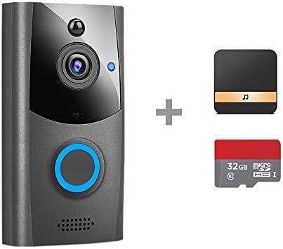 ビデオドアベル、WIFIスマートホームセキュリティワイヤレスインターホン防水屋外ドア電話カメラ720P HDパッシブ赤外線モニター,Doorbell + chime + 32g