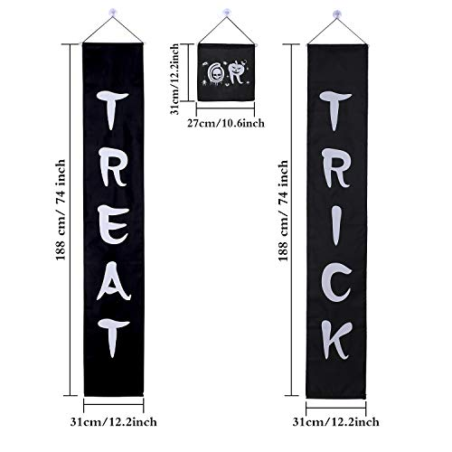 Jetec 3 Set Trick or Treat Halloween Banner Garland Home Door Sign with 4 Pack Suction Cup Wall Hooks Hangers for Home Office Outdoor Halloween Decor by Jetec (Image #5)