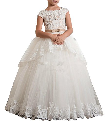 Bonnie Lace Bodice Flower Girl Dresses for Wedding Girl's First Communion Dresses with Bow BS003, Ivory Three, 12 ()