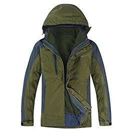 MOERDENG Two-Piece Men's Mountain Waterproof Ski Jacket Outdoor Windproof Snow Jacke