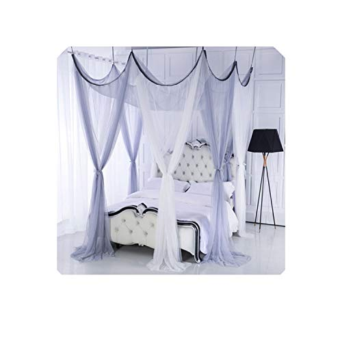 Top Romantic Wedding Corners Post Bed Curtain Palace Mosquito Princess Wedding Net Mosquito Bed Tent,Ropa de cama,Luxury Canopy,08,260X260CM