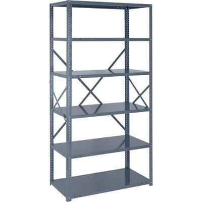 Quantum Heavy-Duty 18-Gauge Industrial Steel Shelving - 6 Shelves, 36in.W x 12in.D x 75in.H, Model# 18G-75-1236-6