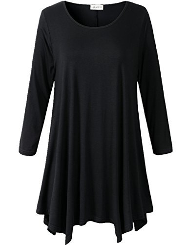 Lanmo Women Plus Size 3/4 Sleeve Tunic Tops Loose Basic Shirt (3X, Black)
