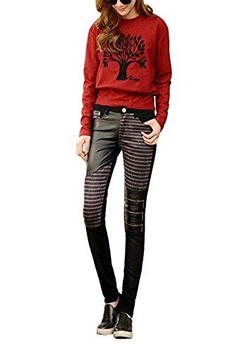Nero Alta Pelle Fit Vita Eleganti Cerniera Sintetica Sottile Moda Lunga Tasche Primaverile Abbigliamento Donna Autunno Con Ragazza Chic Stripe Slim Matita Pantaloni Tendenza BqCwC