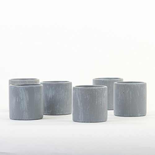 Koyal Wholesale Concrete Decor, Concrete Effect Votive Candle Holders 6-Pack for Modern Decor, Concrete Home Decor, Party Favor