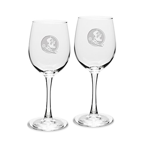 NCAA Florida State Seminoles Adult Set of 2 - 12 oz White Wine Glasses Deep Etch Engraved, One Size, Clear