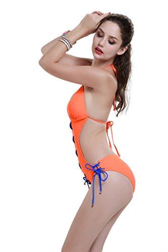 Le Besi Mujer Fashion One Piece sólido elegante inspirado Monokini naranja