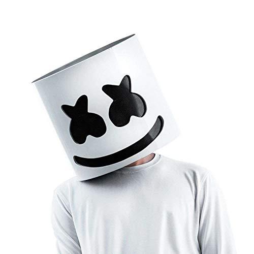 Maikoa Top 10 DJs Marshmello Helmet Music Festival Marshmallow Head Mask Novelty Costume Party Rubber Latex Mask White -