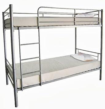 Litera doble y triple con estructura de metal y con escalera en color plata o negro, colchones no incluidos, Plateado, 135 x 190 cm: Amazon.es: Hogar