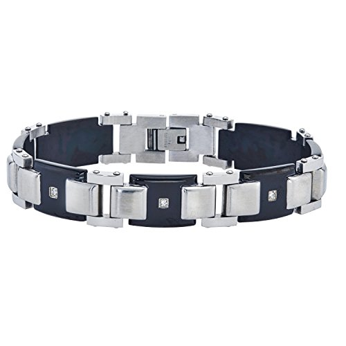 AX Jewelry Mens Diamond Bracelet in Stainless Steel (0.13 carats, H-I I3)