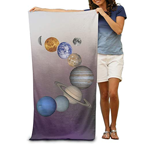 Qinf Solar System Planets Adult Beach Towels Fast/Quick Dry Machine Washable Lightweight Absorbent Plush Multipurpose Use for Swim,Beach,Camping,Yoga by Qinf