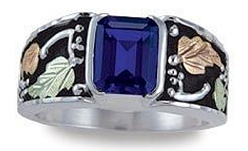 Black Hills Gold Antiqued Silver Men's Birthstone Ring