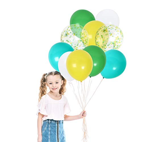 Jungle Birthday Party Supplies in Yellow Green White Teal Balloons Confetti Balloon for Jungle Dinosaur Baby Shower Decorations (42 Pack)]()