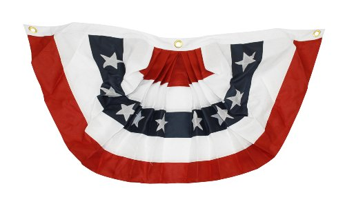 Applique Stripes Flag (3X6' Heavy Duty Polyester 5 Stripe Pleated Fan, Appliqué Sewn Stars and Stripes, Heading and Grommets - Quinn Flags Brand)