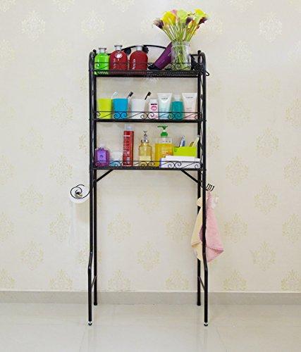 Hooker Bathroom Furniture (SY 3-Tier Toilet Rack Storage Shelf Bathroom Organizer and Decor Bathroom Spacesaver (Black))