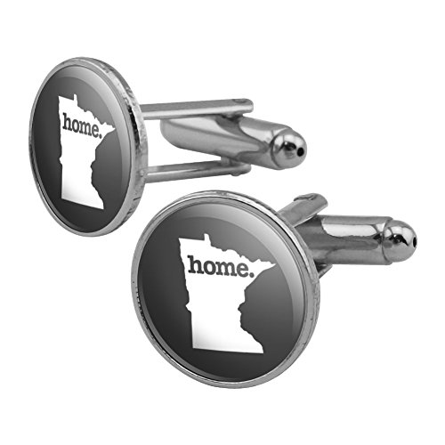 Minnesota MN Home State Solid Dark Gray Grey Officially Licensed Round Cufflink Set Silver Color