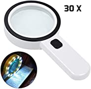 Magnifying Glass with Light, 30X Handheld Large Magnifying Glass 12 LED Illuminated Lighted Magnifier for Macu