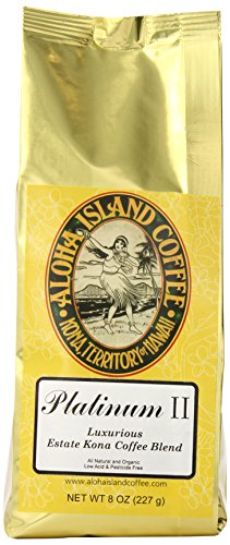 Aloha Island Coffee Platinum Organic Kona Coffee Blend, 8-ounces