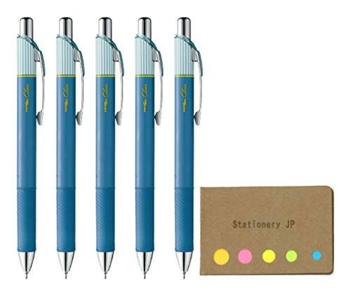Pentel EnerGel Clena Retractable Liquid Gel Pen, Micro Fine Point 0.3mm Needle Tip, Blue Black Ink, 5-Pack, Sticky Notes Value Set