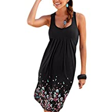 Women's Summer Sleeveless Bohemain Floral Ruched Sundress Plus Size