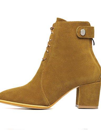 Stiefel Damen Ferse Damen Citior Spitz Chunky Beute Stiefel Schuhe Fleece q1znnSfZO