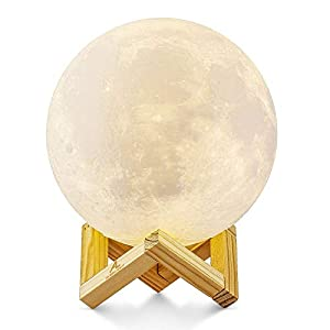 Lampe Lune 3D, ALED LIGHT Veilleuse LED Lampe Luna Tactile 3 Couleurs, 15cm/5,9inch Diamètre, USB Rechargeable Veilleuse…