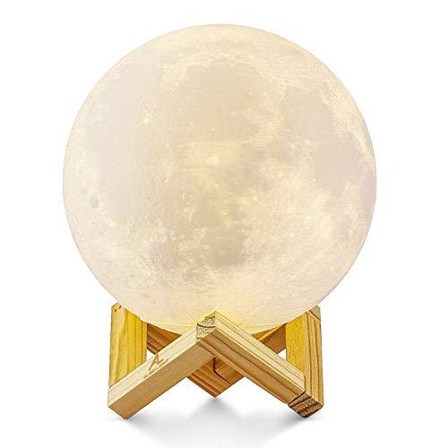 Lampara de luna en 3D, ALED LIGHT Luna con 15 cm de Diametro Conexion USB Con 3 Colores a Elegir Luz de Ambiente Perfecta para Dormitorio Salon Cafe Bar