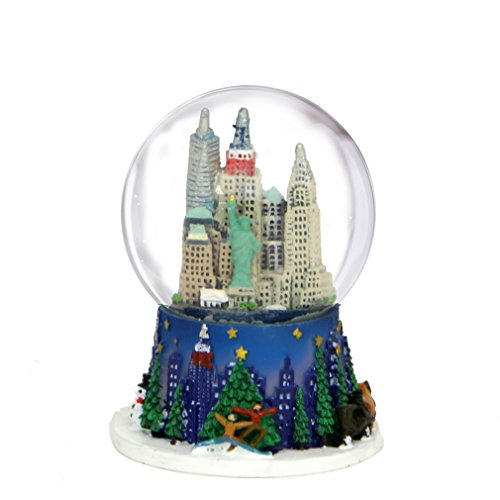 2.5 Inch Mini New York City Christmas Snow Globe and Rockefeller Center Skyline NYC Snow Globes -