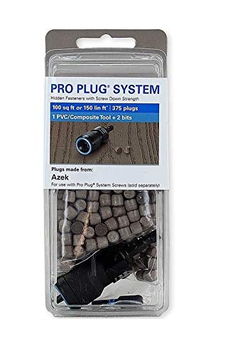 Pro Plug PVC Plugs and Pro Plug PVC Tool for Azek English Walnut Decking, 375 Plugs for 100sq ft, 1 Tool