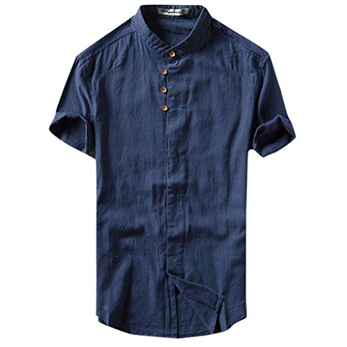 YKARITIANNA 2019 New Fashion Men's Causal Shirt Short Sleeve Top Button Linen Solid Color Loose Blouse