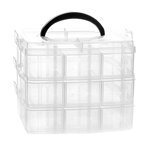 (Snowkingdom Plastic Grid Box Storage Organizer Case for Display Collection with Adjustable Dividers - 18 Grids Vertical - Free Letter Stickers)